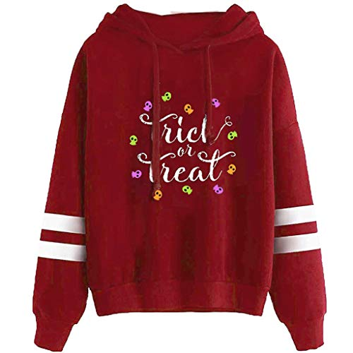 HOTHONG Sweat à Capuche Chemisier Hoodie imprimé Tops Blouse Sweatshirt Halloween Pull Sport avec Poches Pullover à Manches Longue