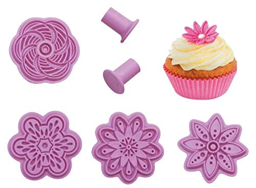 Christmas Flower Fondant Embossing Mold By Garloy,4Pcs Impression Cookie Cutter Set, Biscuit Molds With Different Patterns Embossed Design For Fondant Cupcake Wedding Cake Decoration