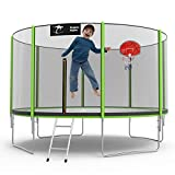 Kangaroo Hoppers 12/14/15 FT Trampoline with Safety Enclosure Net, Basketball Hoop and Ladder -2021...