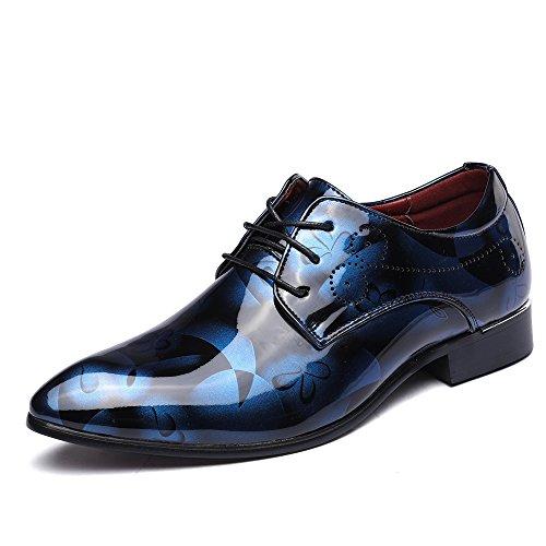 Anzugschuhe Business Herren, Lederschuhe Lackleder Hochzeit Derby Schnürhalbschuhe Oxford Smoking Schuhe Männer Leder Braun Blau Grau Rot 37-50 BL41