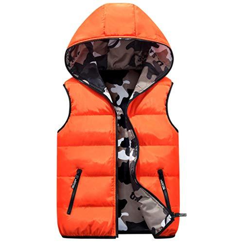 JiAmy Piumino Senza Maniche Gilet con Cappuccio Bambini Reversibile Giacca Inverno Cappotto Camuffare Arancione 5-6 Anni
