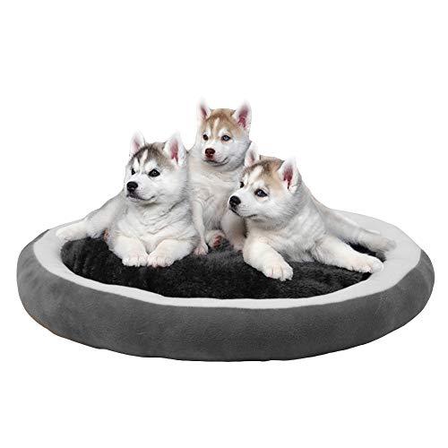 Rond hondenbed hondenmand hondensofa, microvezel velours dierbed voor kleine, middelgrote en grote honden - wasbaar - zwart en grijs