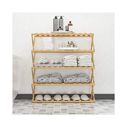 XBDD Rack de zapatos moderno Tallero de zapatos de 5 capas, estante de almacenamiento de instalación gratuito, soporte de flores, gabinete de zapatos de bambú plegable en la puerta, adecuado para entr