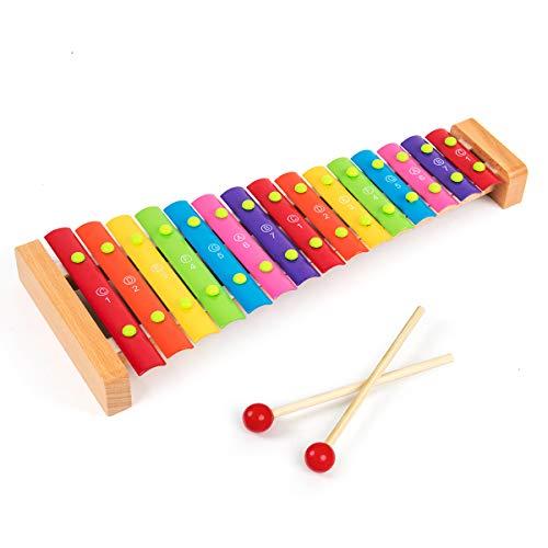 15 tasten töne holz xylophon klavier schillern schlaginstrumente für kleinkinder kinder kinder vorschule lernspielzeug mit schlägeln