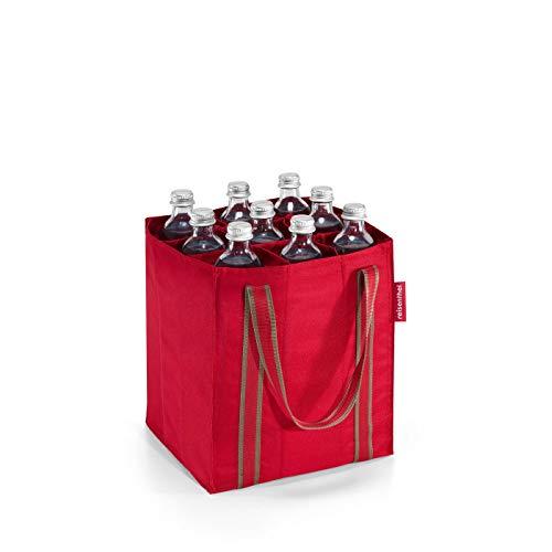 reisenthel bottlebag ZJ3004 red – Flaschentasche zum Transportieren von neun Flaschen – Kompakt, komfortabel und stoßgeschützt – B 24 x H 28 x T 24 cm