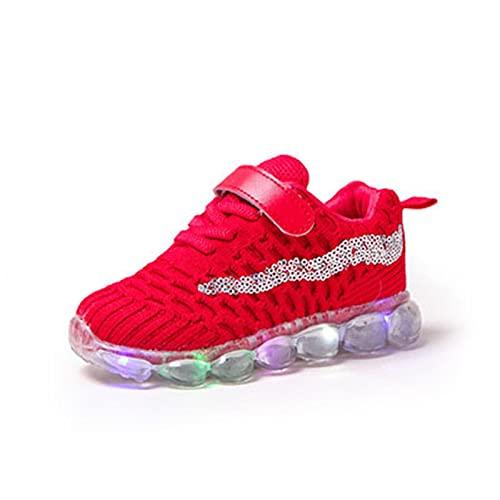 Inrrari Niños niños niños Zapatos a Rayas led Iluminado Luminoso Luminoso niña Zapatillas de Deporte Zapatos Individuales Deportes al Aire Libre cómodo Casual Zapatos (Color : Red, Size : 23)