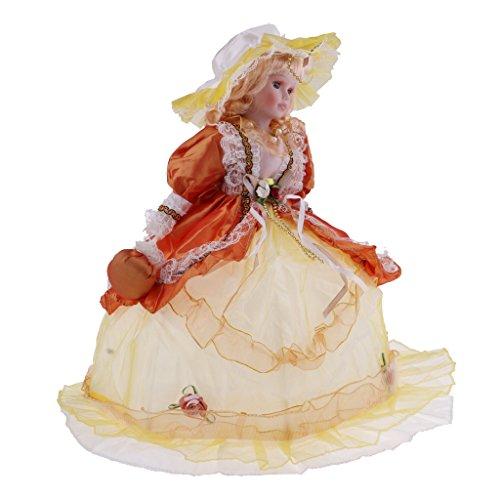 Homyl Bambola Annata Vittoriana Ragazza Modello Giocattolo Porcellana con Scollatura Cappello - Vestito Giallo