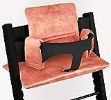 Ukje - Cojin Para Tronas de Bebe Stokke Tripp Trapp 2 Piezas Funda Silla OEKO TEX Standard 100 Funda Cojin Terciopelo de lujo Práctico Fácil de Limpiar Rosado
