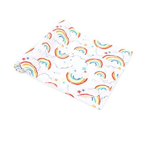 """CuteOn Neonato Swaddle bambino Coperte Ricezione - 100% Cotone - Super morbido per Bambino Regalo doccia 86 Clouds&Rainbow 33.46"""" x 29.53"""""""