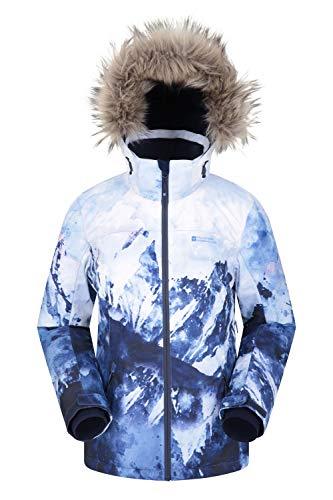 Mountain Warehouse Nordic Bedruckte Skijacke für Damen - wasserdichte Snowboard/Winterjacke, atmungsaktiv, Verstellbarer Gurt, Recco-Reflektor Blau 34