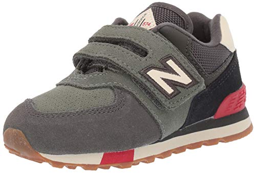 New Balance Baby Girls 574 V1 Hook and Loop Sneaker, Camo Green, 2 Infant