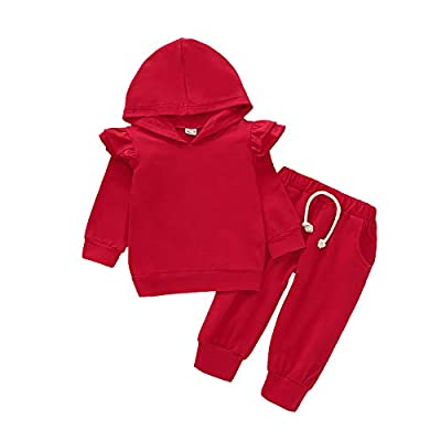 Baby Girls Long Sleeve Hoodie Sweatshirt Tops Pants Set 2Pc Toddler Hooded Shirt Fall Coming Home Outfit Clothes (Red, 6-12 Months)