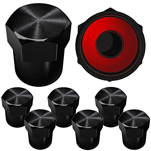 SAMIKIVA Brass Rubber Seal Tire Valve Stem Caps, Dust Proof Covers Universal fit for Cars, SUVs, Bike and Bicycle, Trucks, Motorcycles Flat Top (Black (8 Pack))
