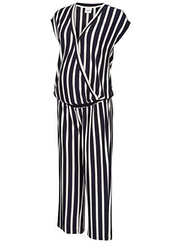 Mamalicious Mlbecky S/s Jersey Jumpsuit Salopette de Maternité, Multicolore (Navy Blazer Stripes: Y/D Snow White), 44 (Taille Fabricant: X-Large) Femme