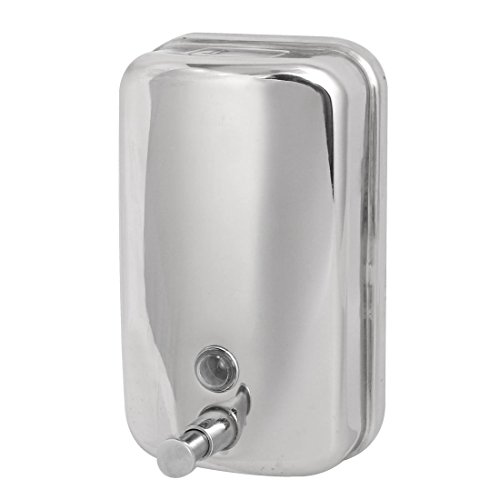 uxcell 1000ml de acero inoxidable pared baño dispensador de jabón de plata tono