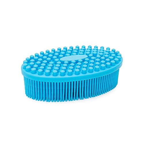 Agirlvct Silicone Loofah Body Scrubber,Exfoliating Silicone Scrubber, Shower Bath LoofaBrush Massaging Spa Gym, Birthday Gift for Kids Men Mother Wife Family (Blue)