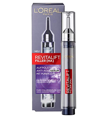 L'Oréal Paris Hyaluron Serum, Revitalift Filler, Anti-Aging Serum, Anti-Falten und Volumen, Mit Hyaluronsäure, 16 ml