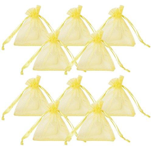 Wady 100 bolsas de regalo de organza para joyas, con cordón, 7 x 9 cm, color amarillo