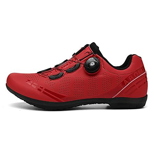 Zapatillas de ciclismo de carretera, suela de goma, rojo, 43