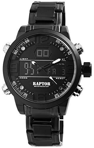 Raptor Herren-Uhr Edelstahl Multifunktion Analog Digital Quarz RA20238