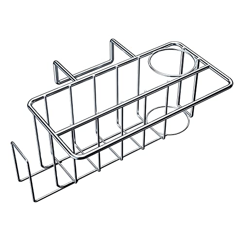 Sponge Holder for Kitchen Sink Caddy - Dish Cloth Hanger, Brush Holder, Sink Stopper Holder, CIYOYO 4 in 1 Drainer Holder, SUS304 Stainless Rust Proof Waterproof Kitchen Organizer Rack, No Drilling