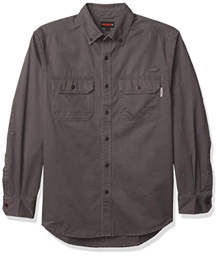 Wolverine Men's Fletcher Soft and Rugged Twill Long Sleeve Shirt, Granite, Medium