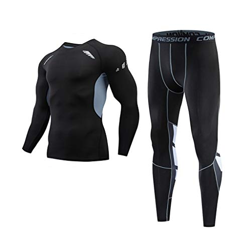 Compression Suits for Man, Workout Sets Fitness Sports Yoga Tights Athletic Training Long Sleeve Shirts+Leggings by Leegor Gray
