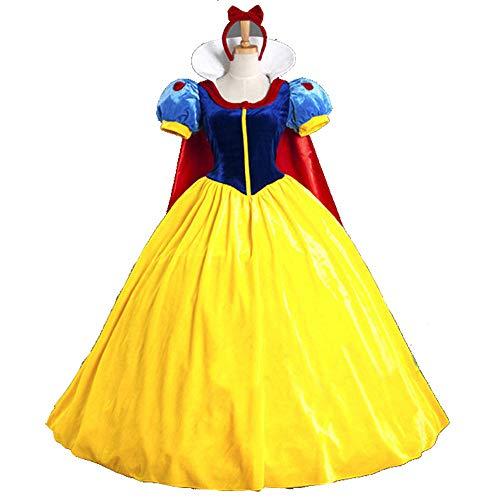 HYMZP Kostüm Damen, Adult Female Sexy Schneewittchen Cosplay Kostüm Mit Umhang, Halloween Spiel Uniform Kleid, Karneval Maskerade Kleid,XL
