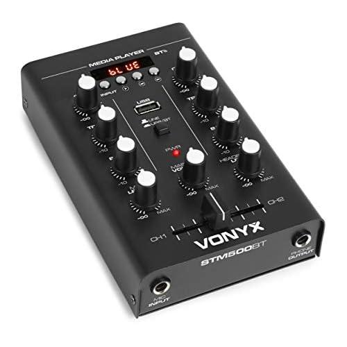 Vonyx STM500BT - Mixer DJ a 2 Canali, Funzione Bluetooth, Lettore MP3, Porta USB, Ingresso Microfono, Connessione Cuffia, Equalizzatore a 2 Bande, Display LCD, Nero