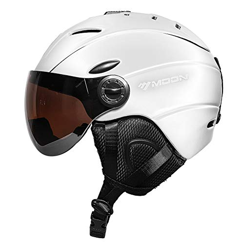 MOON Ski Helmets Snow Helmet with Detachable Ski Goggles Lens, Active Ventilation System Warm Fluff Earpads Chin Cushion
