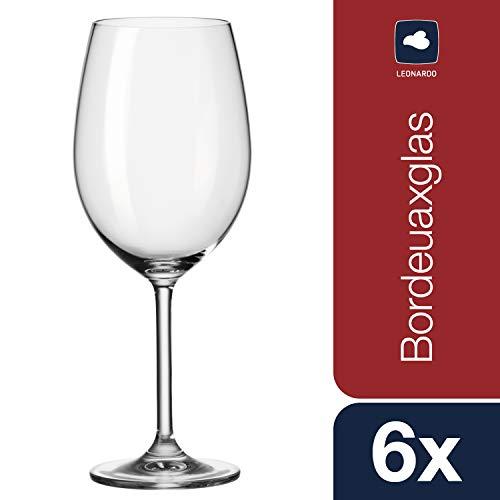 Leonardo Daily Bordeaux-Gläser, Rotwein-Kelch mit Stiel, spülmaschinenfeste Wein-Gläser, 6er Set, 640 ml, 063317