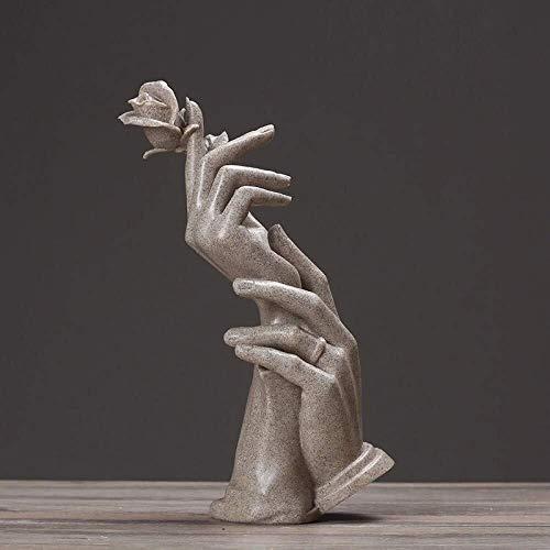 Ambachten Sculptuur Karakter Sculptuur Rose Hand Hars Rock Zand Standbeeld Bureau Woonkamer Slaapkamer TV Kast Decoratie Bruiloft Geschenk 28 * 10cm Decoratie
