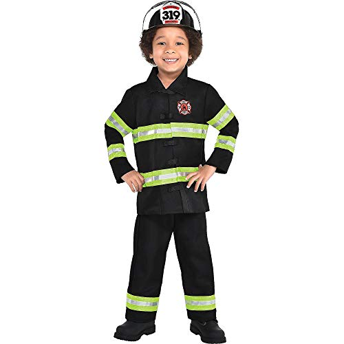 AMSCAN Reflective Firefighter Halloween Costume for Toddler Boys, 3-4T, with Included Accessories