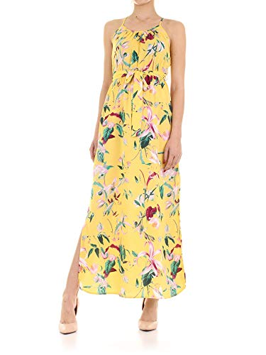 VERO MODA Damen Vmsimply Easy Slit Maxi Dress Kleid, Mehrfarbig (Yarrow AOP: Trille-Yarrow), 36 (Herstellergröße: S)