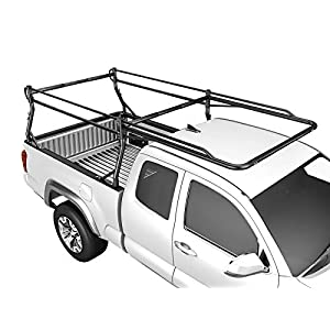 AA-Racks Model X39 Full-size Truck Ladder Rack Side Bar with Long Cab Ext.-Matte Black