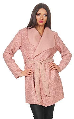 Mississhop 292 - Elegante cappotto da donna in lana, con cintura, taglia unica rosa antico Taglia unica