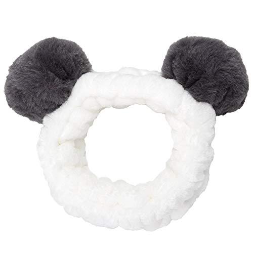 Sea Team dames mode pluche hoofdband haarstrik elastische koraal fleece haarband met schattige pompons voor make-up douche en cosplay