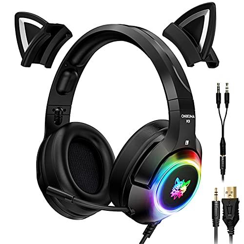 POTIKA Fones de ouvido para jogos 4D estéreo surround com orelhas de gato removíveis, fones de ouvido pretos para jogos com microfone RGB Luminous, fones de ouvido para PC para controle de PC PS4