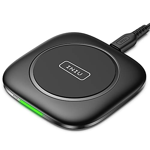 INIU Wireless Charger, Qi-Zertifiziert 15W Kabelloses Schnellladegerät Ladepad mit Auto-Adaptive LED-Anzeige mit iPhone 12 11 Pro Max Xr Xs X 8 Samsung Galaxy S21 S20 S10 S9 S8 Note10 9 AirPods usw.