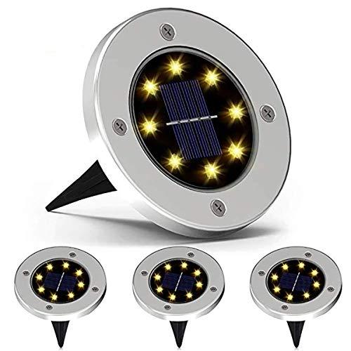W&TT Solar-Bodenlichter, Solar-Disk-Lichter 8 LED im Freien Wasserdichte Solar-Gartenlichter für Pathway Outdoor-Boden-Rasengarten-Patio-Gehweg (4 PC),Silver,WarmLight