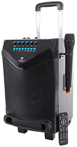 Rockville ROCKnGo 8' Rechargeable Home Theater Bluetooth Speaker+Wireless Mic