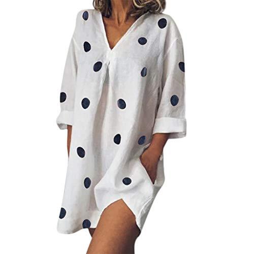Kleid Damen Kolylong Frauen Causal Tupfen Drucken Shirt Kleid Sommer V-Ausschnitt Boho Kleid mit Tasche Blusen Kleid Split Strandkleid Cocktails Minikleid T-Shirt Tops