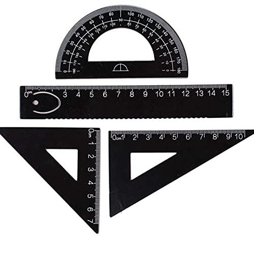 ECHG - Set di 4 strumenti per geometria e matematica in lega di alluminio, squadre, righello e goniometro, set di accessori per studenti, set da disegno, colore nero
