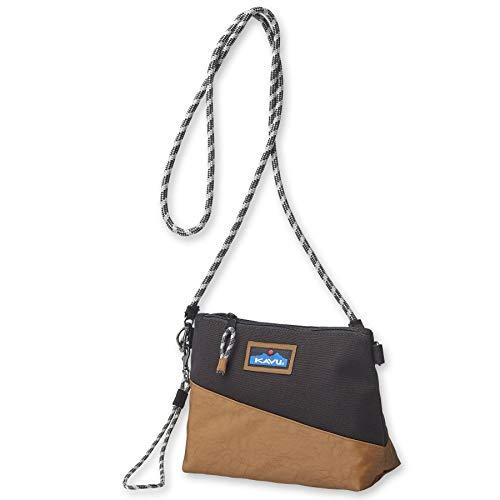 KAVU Rockfern Zip Handbag Pouch with Crossbody Rope Strap-Black