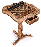 OLIVIEU ~ INTELLIGENTE ~ Chess Table ~ 20 inch ~ Olive Wood Chess Table Furniture ~ Deluxe Chess Table ~ Chess Set with Drawers for Adults Unique ~ Olive Wood Chess Board Table ~ Wooden Chess Set