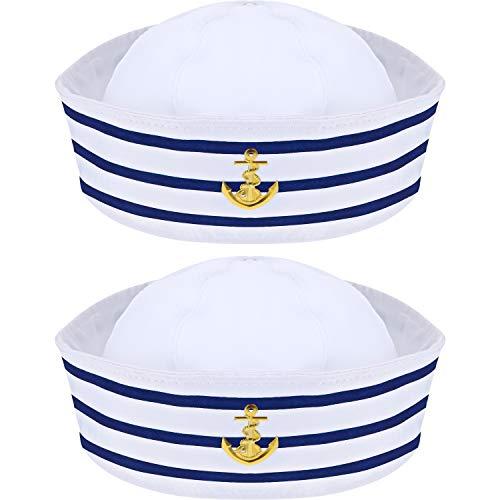 Syhood Sombrero Marinero Sombrero de Capitán de Yate Azul Marino Azul con Blanca Sombrero de Vela para Accesorio de Disfraz (2 Paquetes)