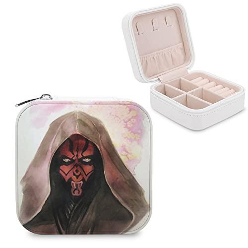 Star Wars Darth Maul Joyero de piel sintética de viaje portátil, para collar, pendientes, pulseras, anillos, relojes, caja de almacenamiento para mujeres