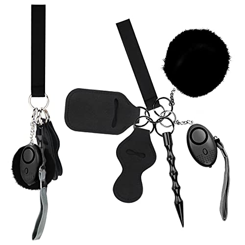 XIELIUWEE Self Defense Keychain Set for Women, Saftey Keychains Full Set - Protection Self Defense Key Chain Black