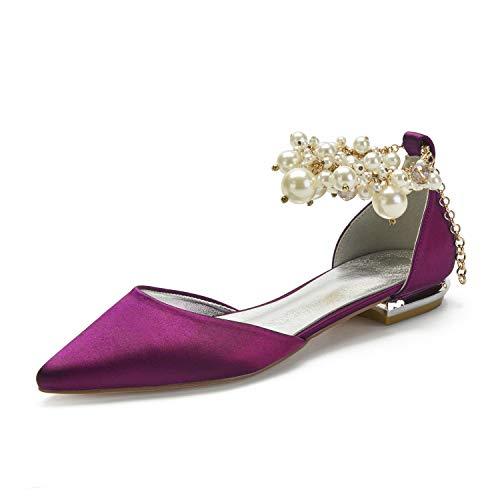 SDJQZ Zapatos de boda de las mujeres tacón plano punta punta clásica...