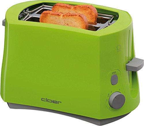 Cloer 3317-4 Cool-Wall-Toaster, 825 W, für 2 Toastscheiben, integrierter Brötchenaufsatz, Krümelschublade, Nachhebevorrichtung, Grün, Kunststoff
